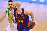 League ACB-ENDESA 2020/2021.Game 15.<br /> FC Barcelona vs Club Joventut Badalona: 88-74.<br /> Nick Calathes vs Ferran Bassas.