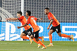 FC Shakhtar Donetsk's Manor Solomon, Marcos Antonio and Dentinho celebrate goal during UEFA Champions League match. October 20,2020.(ALTERPHOTOS/Acero)