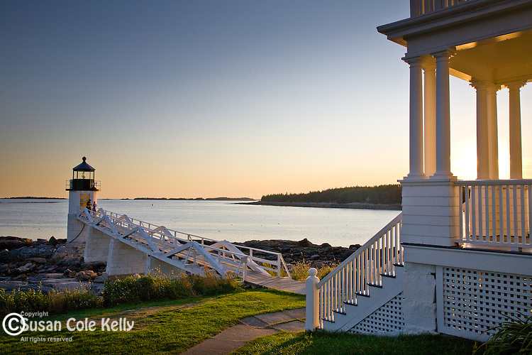 Marshal Point Light glows at sunset, Port Clyde, Mid-coast ME, USA