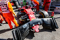 16th April 2021; Autodromo Enzo and Dino Ferrari, Imola, Italy; F1 Grand Prix of Emilia Romagna, Free Practise sessions; The damaged car of LECLERC Charles (mco), Scuderia Ferrari SF21