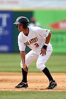 Brevard County Manatees shortstop Nick Shaw #3 during a game against the Clearwater Threshers at Space Coast Stadium on April 30, 2012 in Viera, Florida.  Clearwater defeated Brevard County 5-1.  (Mike Janes/Four Seam Images)