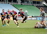 20th February 2021; Twickenham Stoop, London, England; English Premiership Rugby, Harlequins versus Sale Sharks; Alex Dombrandt of Harlequins diving to throw the ball for Luke Northmore of Harlequins to score a try which was disallowed during the 2nd half