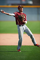 Nicholas Martinez (4) of Pembroke Pines Charter HS High School in Pembroke Pines, Florida during the Under Armour All-American Pre-Season Tournament presented by Baseball Factory on January 14, 2017 at Sloan Park in Mesa, Arizona.  (Mike Janes/MJP/Four Seam Images)