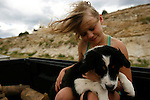 A girl and dog in the back of a pick-up truck at Flaming Gorge Reservoir.