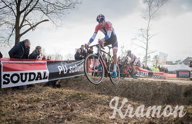 Mathieu Van der Poel (NED/Beobank-Corendon) jumping the ditch in the finale <br /> <br /> men's race<br /> CX Soudal Classics Leuven/Belgium 2017