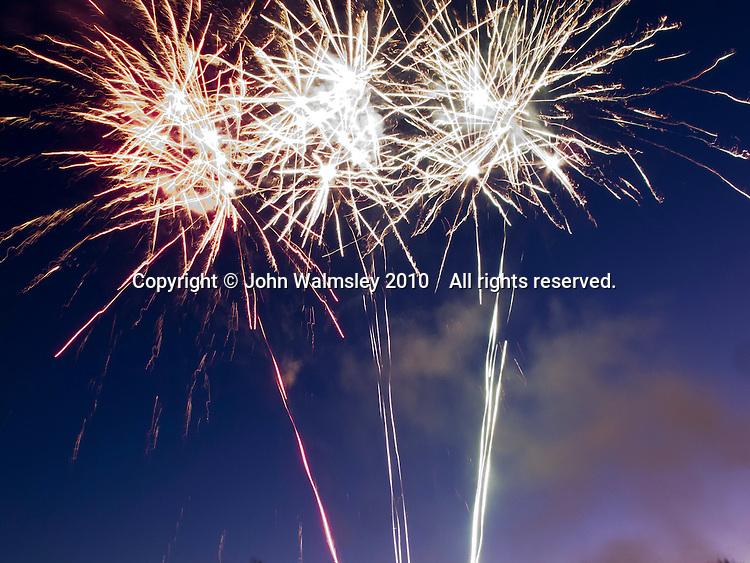 Fireworks display celebrating a major family re-union every 10 years, Pontesbury, Shropshire, UK.