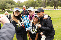 STANFORD, CA - APRIL 25: Malia Nam, Amelia Garvey, Brianna Navarrosa, Katie Woodruff at Stanford Golf Course on April 25, 2021 in Stanford, California.