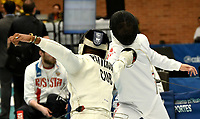 BOGOTA – COLOMBIA – 26 – 05 – 2017: Luis Enrique Patterson (Izq.) de Cuba, combate con Masaru Yamada (Der.) de Japon, durante Varones Mayores Epee del Gran Prix de Espada Bogota 2017, que se realiza en el Centro de Alto Rendimiento en Altura, del 26 al 28 de mayo del presente año en la ciudad de Bogota.  / Luis Enrique Patterson (L) from Cuba, fights with Masaru Yamada (R) from Japan, during Senior Men´s Epee of the Grand Prix of Espada Bogota 2017, that takes place in the Center of High Performance in Height, from the 26 to the 28 of May of the present year in The city of Bogota.  / Photo: VizzorImage / Luis Ramirez / Staff.