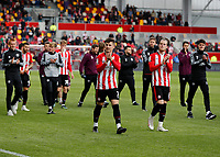 22nd May 2021; Brentford Community Stadium, London, England; English Football League Championship Football, Playoff, Brentford FC versus Bournemouth; Sergi Canos and Mathias Jensen of Brentford applauding the Brentford fans after full time
