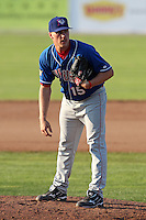 Auburn Doubledays pitcher Alex Kreis #15 during a game against the Batavia Muckdogs at Dwyer Stadium on July 17, 2011 in Batavia, New York.  Batavia defeated Auburn 8-3.  (Mike Janes/Four Seam Images)