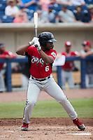 Zavier Warren (6) of the Carolina Mudcats at bat against the Kannapolis Cannon Ballers at Atrium Health Ballpark on June 13, 2021 in Kannapolis, North Carolina. (Brian Westerholt/Four Seam Images)