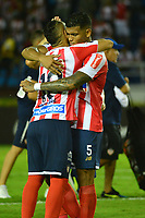 BARRANQUIILLA - COLOMBIA, 29-11-2018:Jugadores de Junior celebran después del encuentro entre Atlético Junior de Colombia e Independiente Santa Fe de Colombia por la semifinal, vuelta, de la Copa CONMEBOL Sudamericana 2018 jugado en el estadio Roberto Meléndez de la ciudad de Barranquilla. / Players of Junior celebrate after a semifinal second leg match between Atletico Junior of Colombia and Independiente Santa Fe of Colombia as a part of Copa CONMEBOL Sudamericana 2018 played at Roberto Melendez stadium in Barranquilla city Atletico Junior de Colombia e Independiente Santa Fe de Colombia en partido por la semifinal, vuelta, de la Copa CONMEBOL Sudamericana 2018 jugado en el estadio Roberto Meléndez de la ciudad de Barranquilla. / Atletico Junior of Colombia and Independiente Santa Fe of Colombia in Semifinal second leg match as a part of Copa CONMEBOL Sudamericana 2018 played at Roberto Melendez stadium in Barranquilla city.  Photo: VizzorImage/ Alfonso Cervantes / Cont
