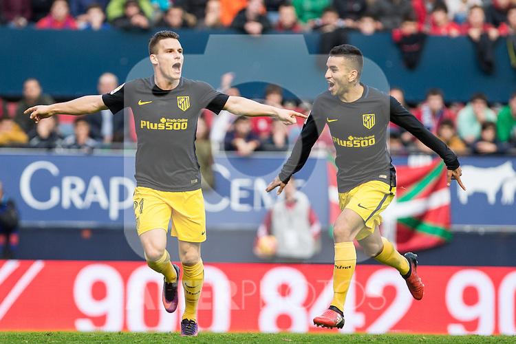 Atletico de Madrid's Kevin Gameiro, Angel Correa, Antoine Griezmann during the match of La Liga, between Club Altetico Osasuna and Atletico de Madrid at Sadar Stadium, Pamplona , Spain. November 27, 2016. (ALTERPHOTOS/Rodrigo Jimenez)