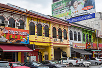 Ipoh, Malaysia.  Street Scene Showing Refurbished Shophouses, Mustapha Al-Bakry Street.