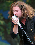 NEW ORLEANS, LA - MAY 06: Singer Jim James performs with the Preservation Hall Jazz Band during the 2012 New Orleans Jazz & Heritage Festival at the Fair Grounds Race Course on May 6, 2012 in New Orleans, Louisiana.