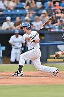 Asheville Tourists second baseman Brendan Rodgers (1) swings at a pitch during a game against the Columbia Fireflies at McCormick Field on June 17, 2016 in Asheville, North Carolina. The Tourists defeated the Fireflies 6-2. (Tony Farlow/Four Seam Images)