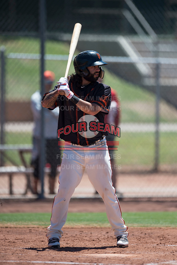 San Francisco Giants Black shortstop CJ Hinojosa (45) at bat during an Extended Spring Training game against the Los Angeles Angels at the San Francisco Giants Training Complex on May 25, 2018 in Scottsdale, Arizona. (Zachary Lucy/Four Seam Images)
