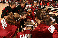15 November 2007: (not in order) Stanford Cardinal Michelle Harrison, Ashley Cimino, Cissy Pierce, Kayla Pedersen, Jillian Harmon, Candice Wiggins, Melanie Murphy, Jayne Appel, Hannah Donaghe, Morgan Clyburn, Jeanette Pohlen, Rosalyn Gold-Onwude, and JJ Hones during Stanford's 97-62 loss against the USA Women's National Basketball Team at Maples Pavilion in Stanford, CA.