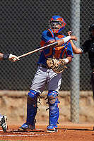 GCL Mets catcher Juan Uriarte (17) throws down to third after a strike out during the first game of a doubleheader against the GCL Astros on August 5, 2016 at Osceola County Stadium Complex in Kissimmee, Florida.  GCL Astros defeated the GCL Mets 4-1 in the continuation of a game started on July 21st and postponed due to inclement weather.  (Mike Janes/Four Seam Images)