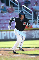 Bryce Johnson (6) of the Salem-Keizer Volcanoes runs to first base during a game against the Vancouver Canadians at Volcanoes Stadium on July 24, 2017 in Keizer, Oregon. Salem-Keizer defeated Vancouver, 4-3. (Larry Goren/Four Seam Images)