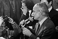 November 15 1976 File photo - Montreal (Qc) CANADA - Claude Charron (seen crying) and other Candidates of the Parti Quebecois celebrate the 1976 victory with the party leader Rene Levesque , November 15 1976 at Centre Paul Sauve.