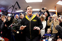 Rick Santorum, riding a timely surge in the polls, campaigns at a cafe in Polk City, Iowa on Monday, January 2, 2012.  (Christopher Gannon/GannonVisuals.com/MCT)