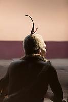 Close-up of man's traditional head dress, Eswatini