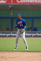 GCL Mets shortstop Mark Vientos (15) during the first game of a doubleheader against the GCL Nationals on July 22, 2017 at The Ballpark of the Palm Beaches in Palm Beach, Florida.  GCL Mets defeated the GCL Nationals 1-0 in a seven inning game that originally started on July 17th.  (Mike Janes/Four Seam Images)