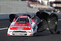 Feb. 16, 2013; Pomona, CA, USA; NHRA funny car driver Bob Tasca III during qualifying for the Winternationals at Auto Club Raceway at Pomona.. Mandatory Credit: Mark J. Rebilas-