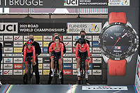 The Womens Team Austria about to roll off the start ramp in Brugge<br /> <br /> Mixed Relay TTT <br /> Team Time Trial from Knokke-Heist to Bruges (44.5km)<br /> <br /> UCI Road World Championships - Flanders Belgium 2021<br /> <br /> ©kramon