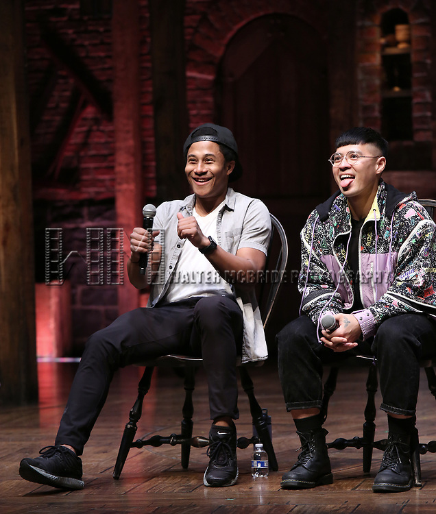 "Daniel Yearwood and Preston Mui during the Q & A before The Rockefeller Foundation and The Gilder Lehrman Institute of American History sponsored High School student #eduHAM matinee performance of ""Hamilton"" at the Richard Rodgers Theatre on 3/12/2020 in New York City."