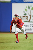GCL Phillies right fielder Jhailyn Ortiz (13) gets under a fly ball during the second game of a doubleheader against the GCL Blue Jays on August 15, 2016 at Florida Auto Exchange Stadium in Dunedin, Florida.  GCL Phillies defeated the GCL Blue Jays 4-0.  (Mike Janes/Four Seam Images)