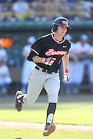 Trever Morrison (7) of the Oregon State Beavers runs to first base during a game against the UCLA Bruins at Jackie Robinson Stadium on April 4, 2015 in Los Angeles, California. UCLA defeated Oregon State, 10-5. (Larry Goren/Four Seam Images)