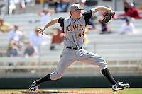Pitcher Zach Kenyon #44 of the Iowa Hawkeyes during the Big East-Big Ten Challenge vs. the West Virginia Mountaineers at Jack Russell Stadium in Clearwater, Florida;  February 18, 2011.  West Virginia defeated Iowa 5-0 in both teams opening games of the season.  Photo By Mike Janes/Four Seam Images