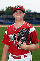 Batavia Muckdogs pitcher Jordan Hillyer (47) poses for a photo on July 8, 2015 at Dwyer Stadium in Batavia, New York.  (Mike Janes/Four Seam Images)