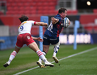 27th March 2021; Ashton Gate Stadium, Bristol, England; Premiership Rugby Union, Bristol Bears versus Harlequins; Bryan Byrne of Bristol Bears sidesteps Danny Care of Harlequins