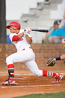 Romulo Ruiz #16 of the Johnson City Cardinals follows through on his swing against the Elizabethton Twins at Howard Johnson Field July 3, 2010, in Johnson City, Tennessee.  Photo by Brian Westerholt / Four Seam Images