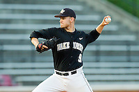 Starting pitcher Austin Stadler #9 of the Wake Forest Demon Deacons in action against the Miami Hurricanes at Gene Hooks Field on March 18, 2011 in Winston-Salem, North Carolina.  Photo by Brian Westerholt / Four Seam Images