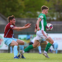 James McCarthy of Cobh Ramblers with Cian Bargary of Cork City.<br /> <br /> Cobh Ramblers v Cork City, SSE Airtricity League Division 1, 28/5/21, St. Colman's Park, Cobh.<br /> <br /> Copyright Steve Alfred 2021.