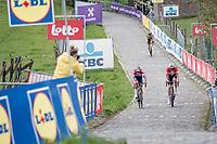 Mathieu Van der Poel (NED/Alpecin-Fenix) & Kasper Asgreen (DEN/Deceuninck - Quick Step) in the last ascent up the Paterberg at the moment Wout van Aert (BEL/Jumbo-Visma) realised he wouldn't win this edition of De Ronde<br /> <br /> 105th Ronde van Vlaanderen 2021 (MEN1.UWT)<br /> <br /> 1 day race from Antwerp to Oudenaarde (BEL/264km) <br /> <br /> ©kramon