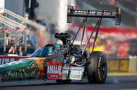 Feb 7, 2020; Pomona, CA, USA; NHRA top fuel driver Terry McMillen during qualifying for the Winternationals at Auto Club Raceway at Pomona. Mandatory Credit: Mark J. Rebilas-USA TODAY Sports