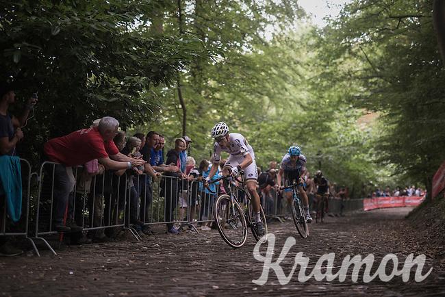 World Champion Wout Van Aert (BEL/Crelan-Vastgoedservice) & Michael Vanthourenhout (BEL/Marlux-NapoleonGames) leading the race up the cobbles of the infamous 'Muur van Geraardsbergen'<br /> <br /> Brico-cross Geraardsbergen 2016