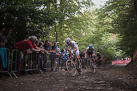 World Champion Wout Van Aert (BEL/Crelan-Vastgoedservice) & Michael Vanthourenhout (BEL/Marlux-NapoleonGames) leading the race up the cobbles of the infamous 'Muur van Geraardsbergen'<br /> <br /> Brico-cross Geraardsbergen 2016