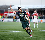 Adam Matthews celebrates after he scores the opening goal for Celtic