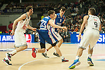 Real Madrid´s Rudy Fernandez and Anadolu Efes´s Matt Janning during 2014-15 Euroleague Basketball match between Real Madrid and Anadolu Efes at Palacio de los Deportes stadium in Madrid, Spain. December 18, 2014. (ALTERPHOTOS/Luis Fernandez)