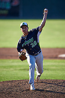 Vermont Lake Monsters pitcher Evan Manarino (28) delivers a pitch during a game against the Batavia Muckdogs August 9, 2015 at Dwyer Stadium in Batavia, New York.  Vermont defeated Batavia 11-5.  (Mike Janes/Four Seam Images)