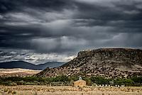 A small church on Santa Clara pueblo near the base of Black Mesa.