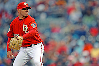 13 April 2008: Washington Nationals' pitcher Saul Rivera on the mound against the Atlanta Braves at Nationals Park, in Washington, DC. The Nationals ended their 9-game losing streak by defeating the Braves 5-4 in the last game of their 3-game series...Mandatory Photo Credit: Ed Wolfstein Photo