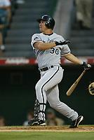 Magglio Ordonez of the Chicago White Sox during a 2003 season MLB game at Angel Stadium in Anaheim, California. (Larry Goren/Four Seam Images)