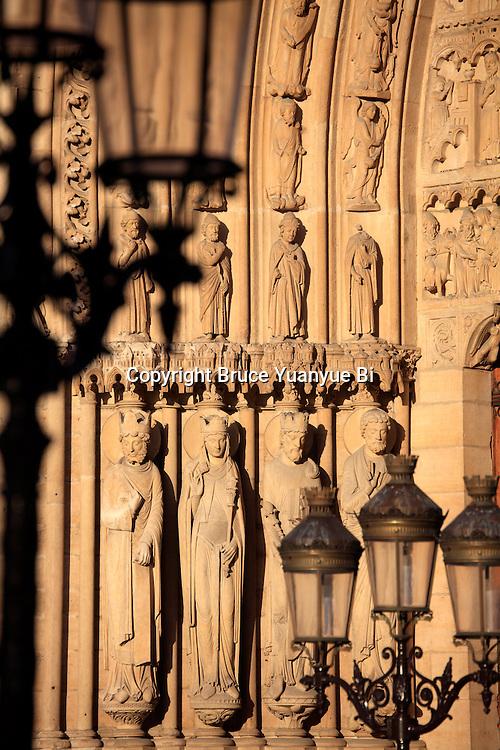 Saints statues decorated the Portal of St-Anne of Notre Dame cathedral. city of Paris. Paris. France